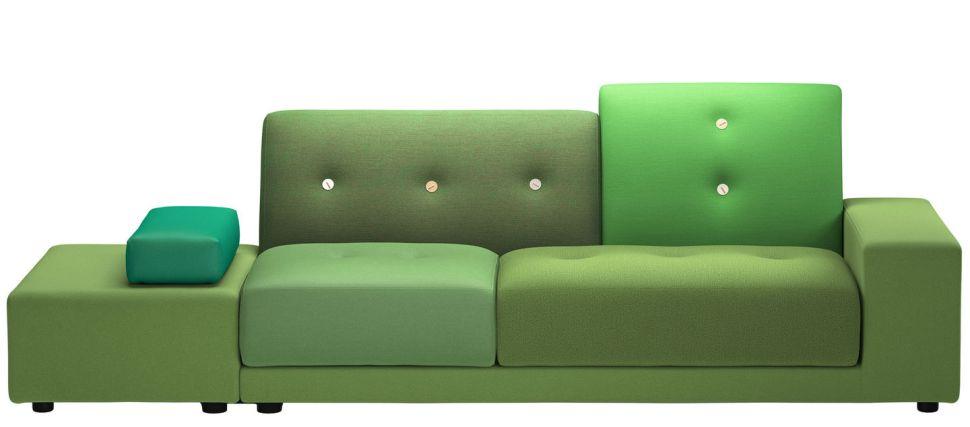 Este sofá de design assinado ousa na combinação de verdes. Se você é um pouco mais contida, aposte em uma capa nova removível. assim, se você enjoar, é só tirar e guardar. https://www.vitra.com/en-br/living/product/details/polder-sofa