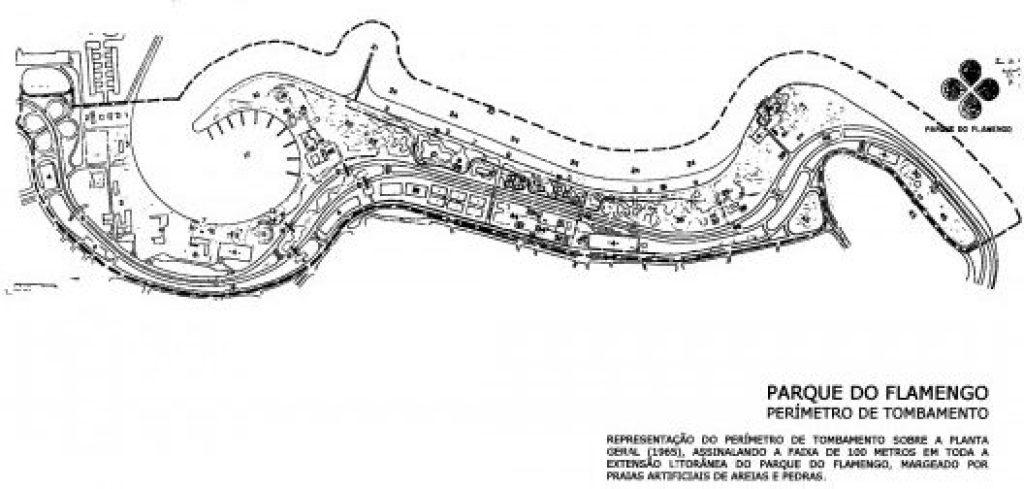Planta do projeto urbanístico do Parque do Flamengo. Trata-se do maior parque de orla do mundo. Imagem: Vitruvius
