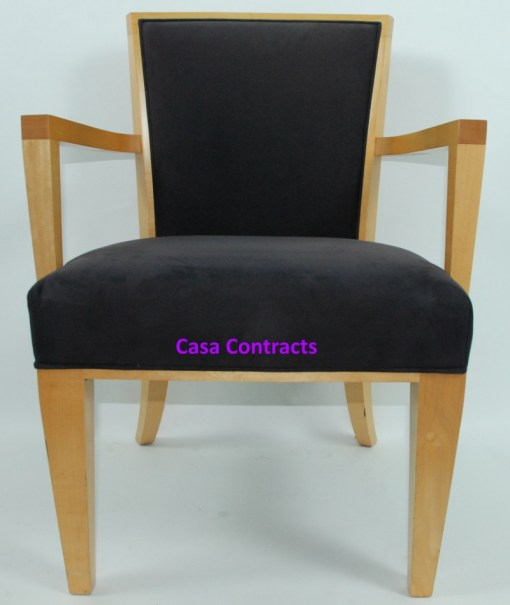 HBF Side Canteen Chair in Cherry Fabric Wooden Frame 11a