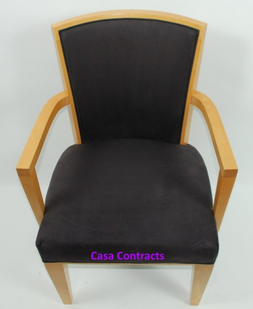HBF Side Canteen Chair in Cherry Fabric Wooden Frame 2a