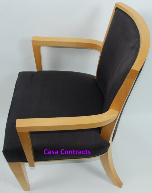 HBF Side Canteen Chair in Cherry Fabric Wooden Frame 4a