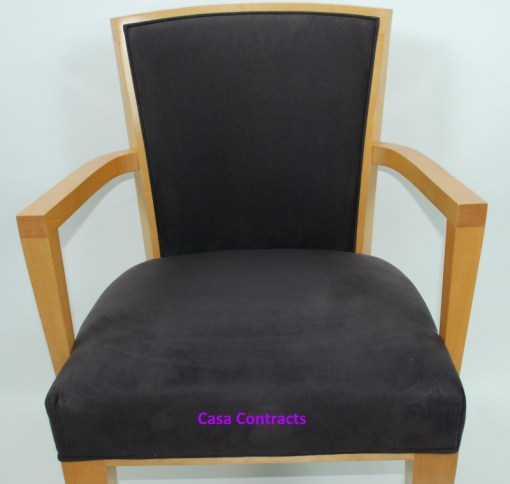 HBF Side Canteen Chair in Cherry Fabric Wooden Frame 8a