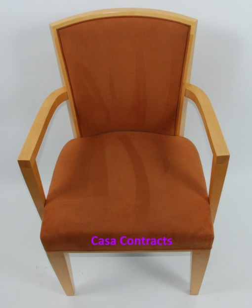 HBF Side Canteen Chair in Tan Fabric Wooden Frame 2a - Copy