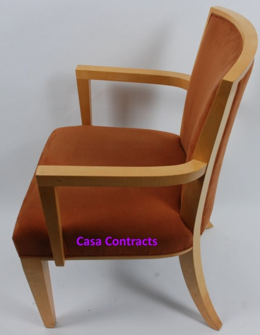 HBF Side Canteen Chair in Tan Fabric Wooden Frame 3a - Copy