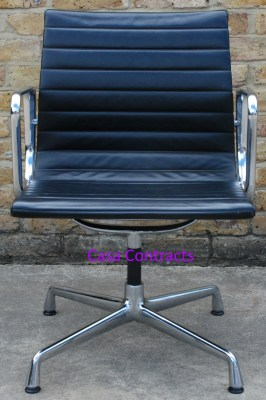 Vitra Eames EA108 Black Ribbed Leather Aluminium Group Chair 1