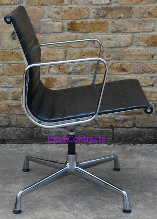 Vitra Eames EA108 Black Ribbed Leather Aluminium Group Chair 2