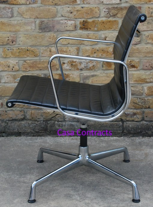 Vitra Eames EA108 Black Ribbed Leather Aluminium Group Chair 5