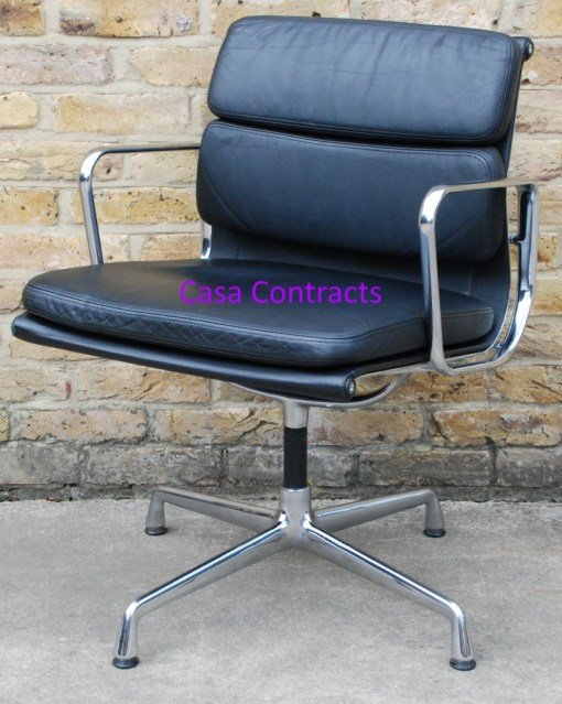 Vitra Eames EA208 black leather Soft Pad Chair 7
