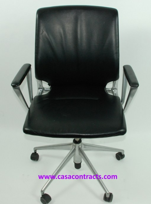 Vitra Meda chair leather fixed arms 1a