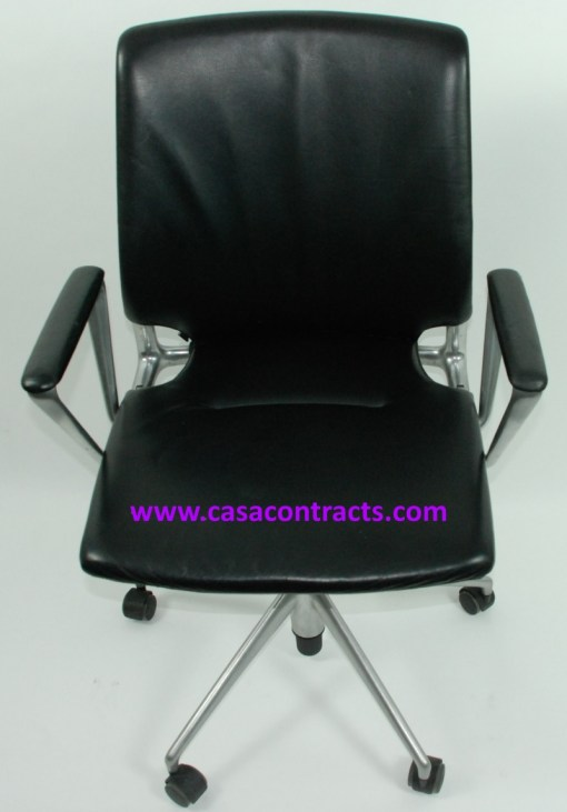 Vitra Meda chair leather fixed arms 2b