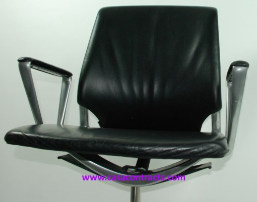 Vitra Meda chair leather fixed arms 7a