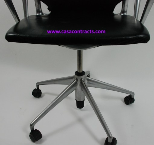 Vitra Meda chair leather fixed arms 9b