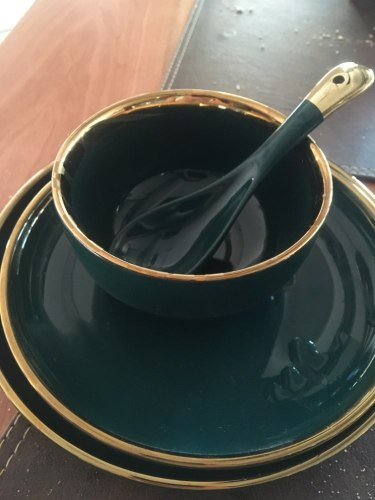 Green Ceramic Gold Inlay Tableware photo review