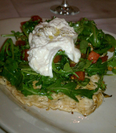 Chicken Paillard, salad & Burrata cheese