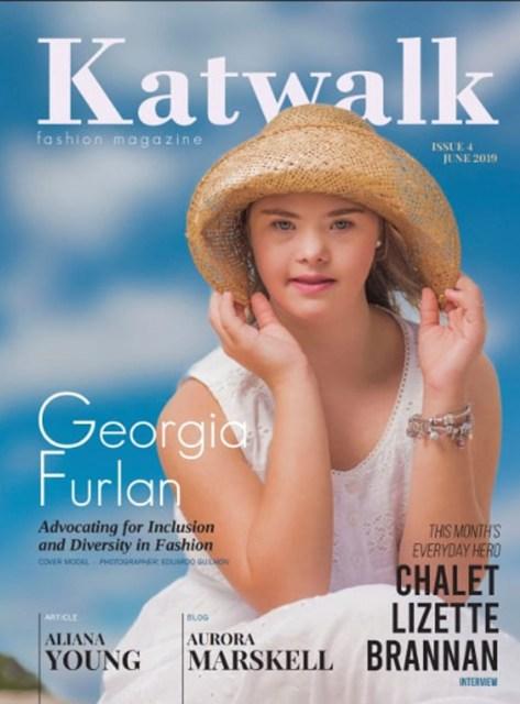 Georgia Furlan Traebert foi capa da edição de julho da australiana 'Katwalk Kids Fashion Magazine' — Foto: Reprodução G1/ Katwalk Kids Fashion Magazine