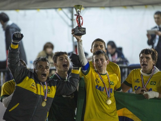 Brasil campeão Mundial Futebol de 5 — Foto: Marcio Rodrigues/CPB/MPIX