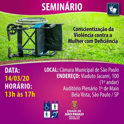 banner do seminário 'Conscientização da Violência contra a Mulher com Deficiência'