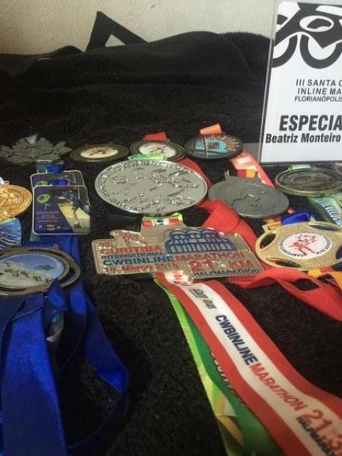 Medalhas de Beatriz em provas no país e fora dele - Arquivo Pessoal