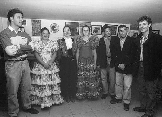 Emili, Rubio, Salillas y Elcacho, en la Casa de Andalucía, donde participaron ayer en un coloquio.¶