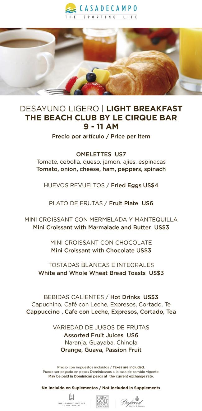 breakfast Minitas Beach Casa de Campo
