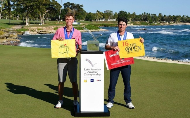 Paul Chaplet of Costa Rica and Jorge Garcia of Venezuela with the trophy of the 2016 Latin America Amateur Championship at CASA DE CAMPO on Sunday, January 17th, 2016. Enrique Berardi/LAAC.