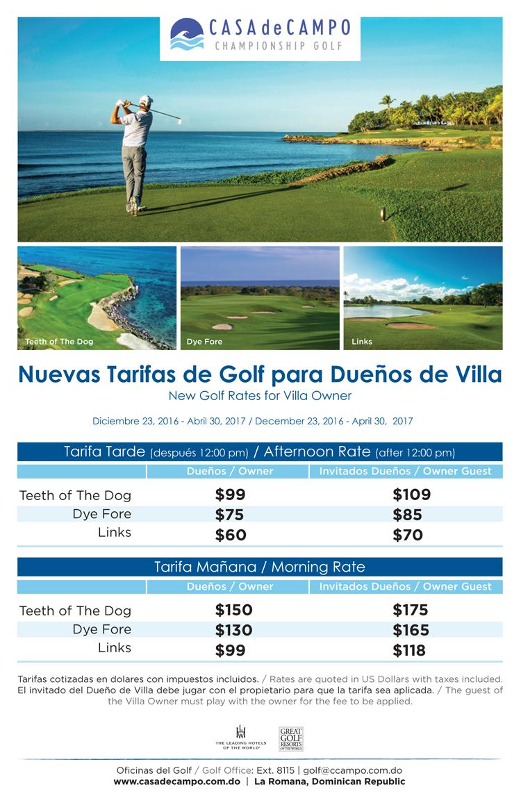 Flyer Ofertas Golf para Dueños
