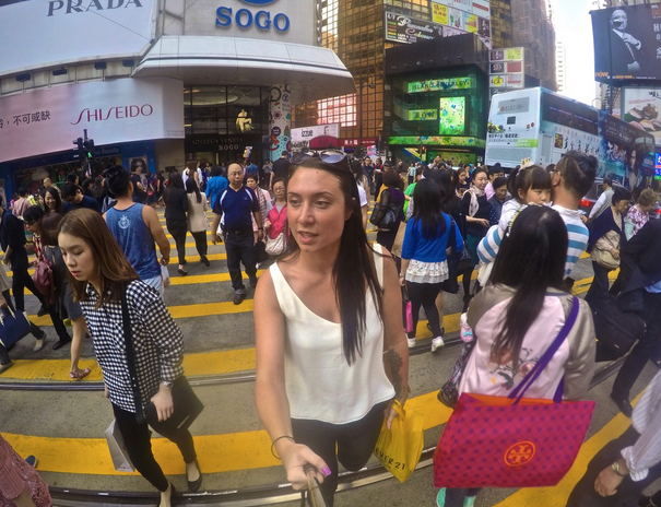 Sarah exploring the streets of Hong Kong, where she is currently.