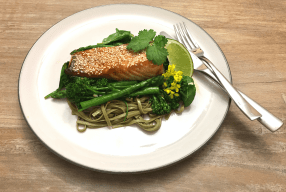Miso-Glazed Salmon With Asian Greens