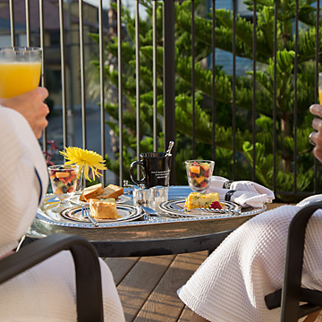 Breakfast on the private guest room balcony
