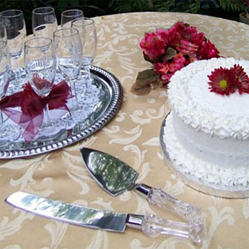 wedding cake and champagne toast