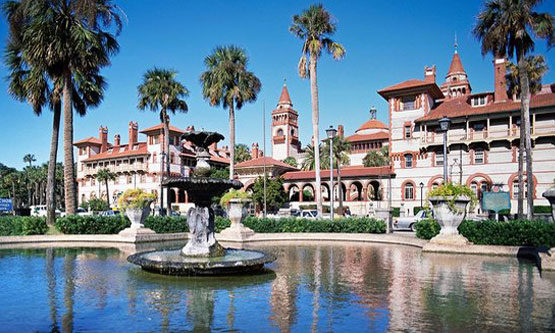 View of Flagler College from Lightner Complex fountain