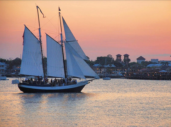 Schooner Freedom cruise at sunset on the Bayfront