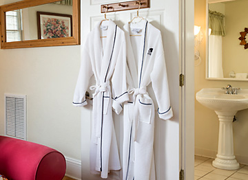 monogrammed robes for guest use during their stay
