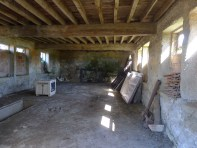 The interior of the garage that housed the 'Expresso des Montes Hermininos' -- now we are using it as a staging area for WTF : Work Towards Fairness!
