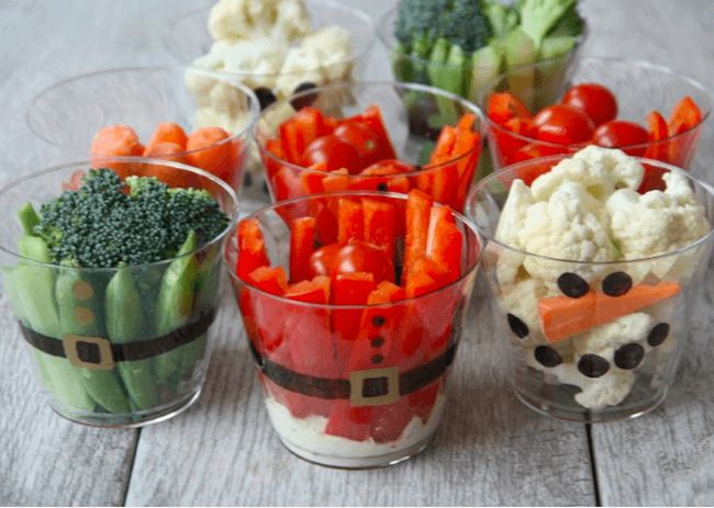Legumes em copinhos natalinos