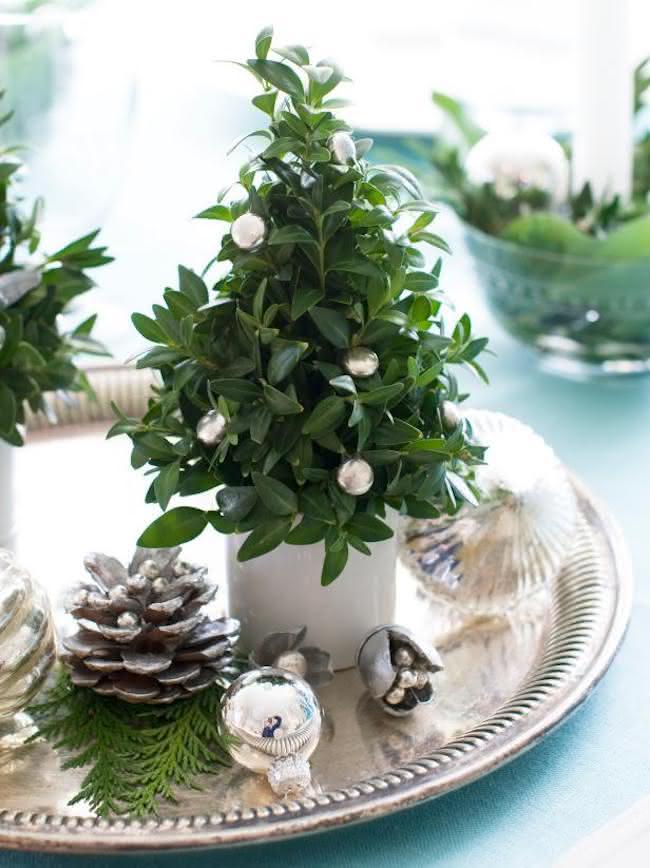 Mini árvores de natal em bandejas prateadas