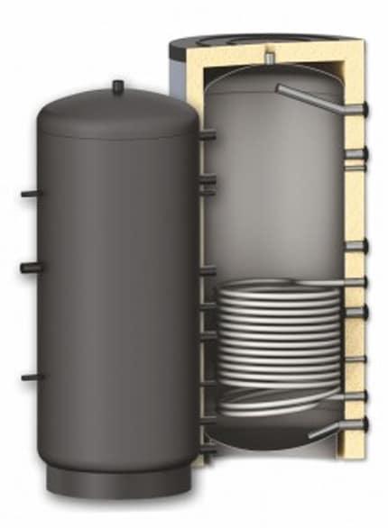 Rezervor de acumulare puffer pentru agent termic cu o serpentina Sunsystem PR 1000L