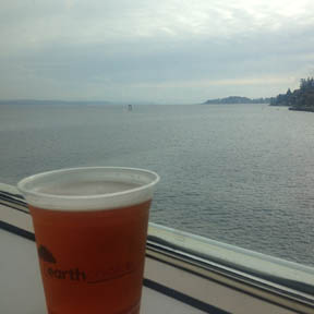 Elysian Fields IPA on the ferry back to Seattle -- such a civilized way to travel!