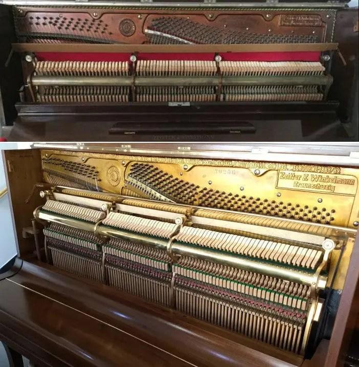 conserto de piano antes e depois