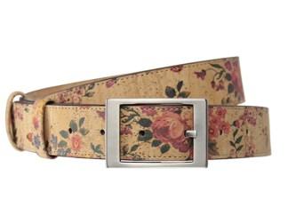 ceinture accessoire femme liège imprimé fleur ajustable boucle argent