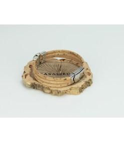 Bracelet trio liège et pastille style perle de culture