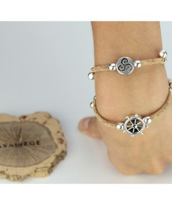 Bracelet en liège ajustable avec pendentif