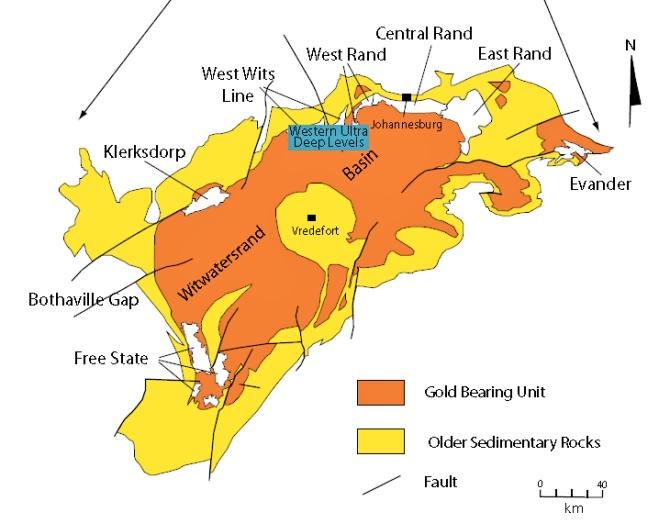 Mapa do ouro em Joanesburgo