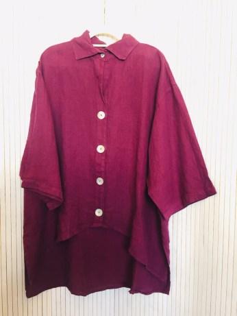 Plum Linen Big Button Shirt £120 Plum