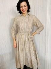 Cotton stripe shirt waister dress