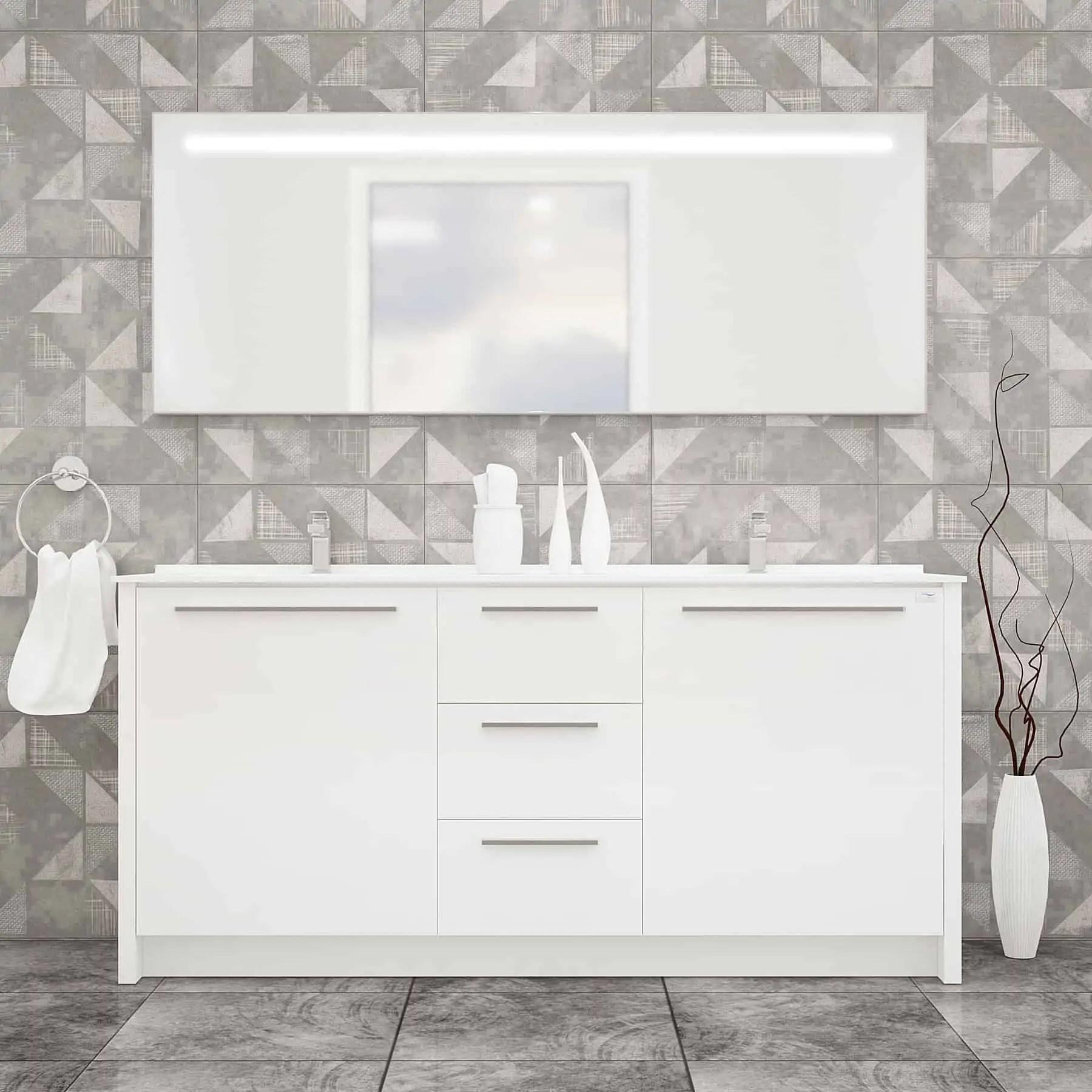 nona 60 glossy white acrylic bathroom vanity