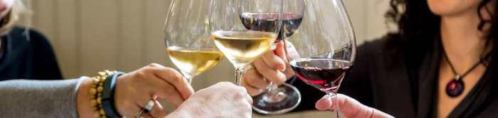 toasting with wine