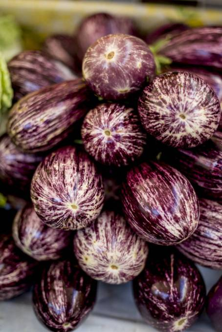 Italian eggplant or aubergine are in season in June