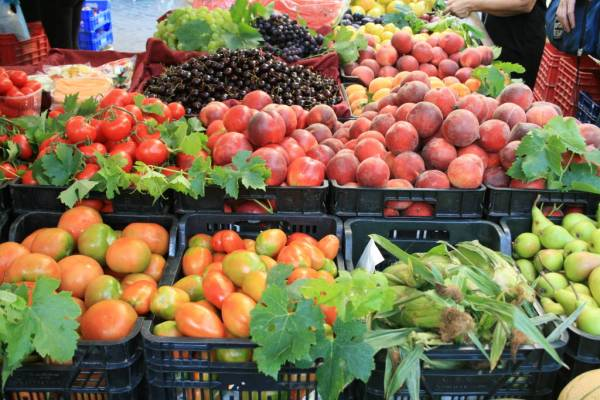 summer fruit at the market in Italy