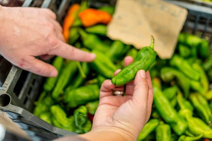 fresh friggitelli peppers in Italian market